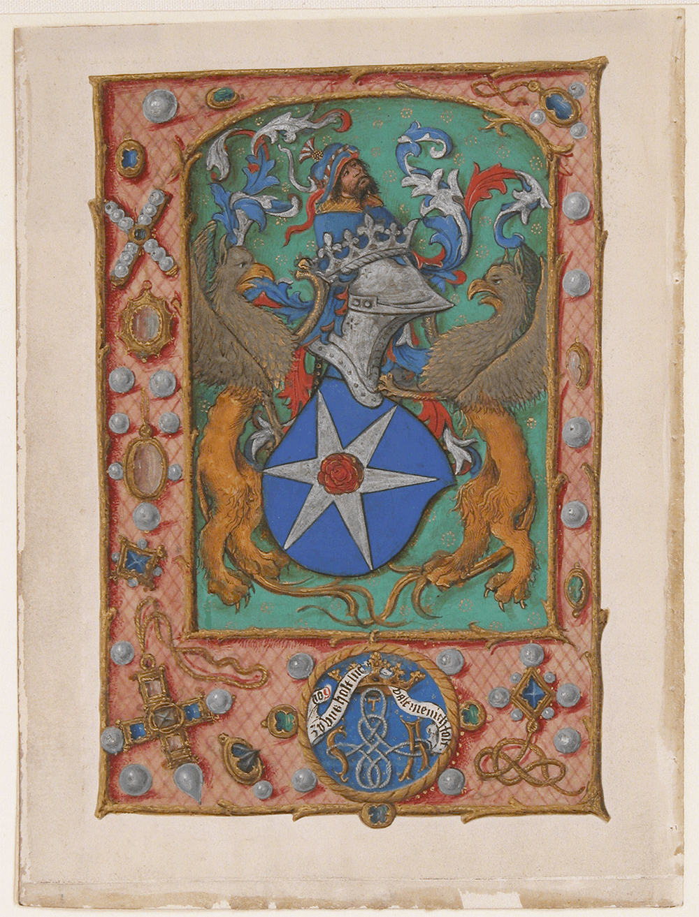 Manuscript Leaf with Coat of Arms