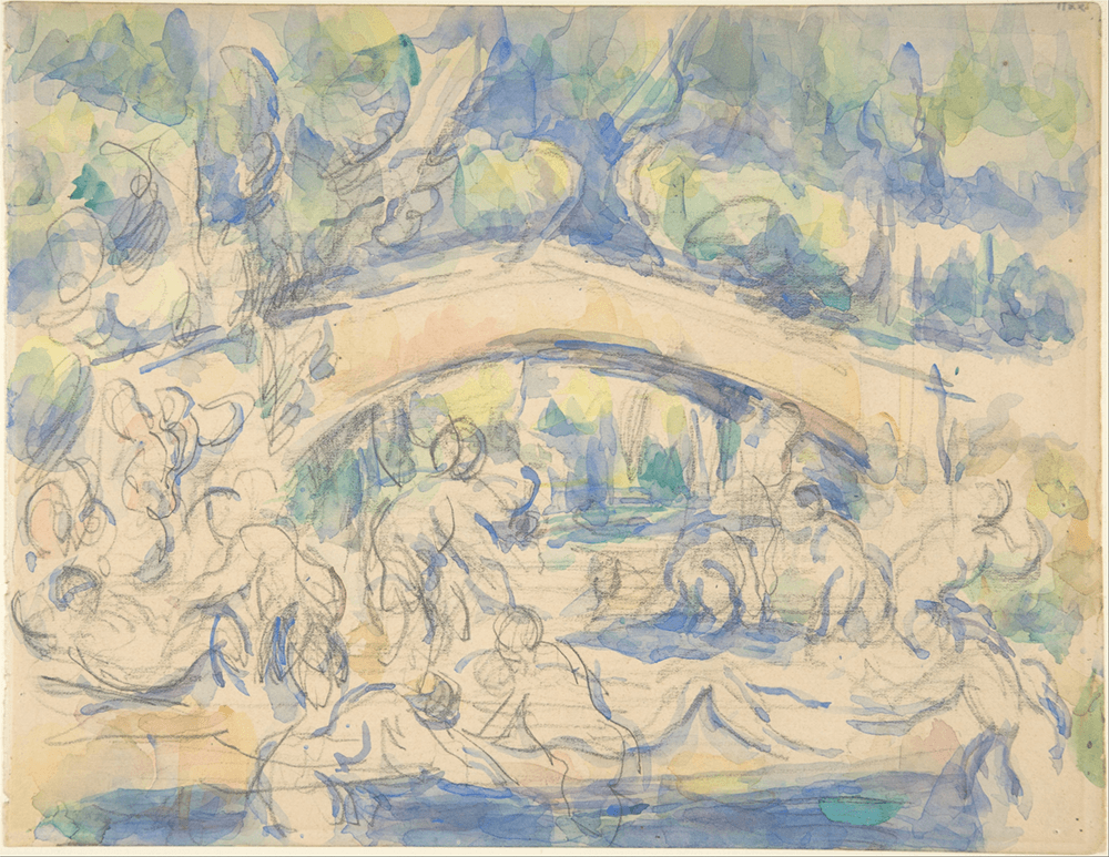 Bathers under a bridge