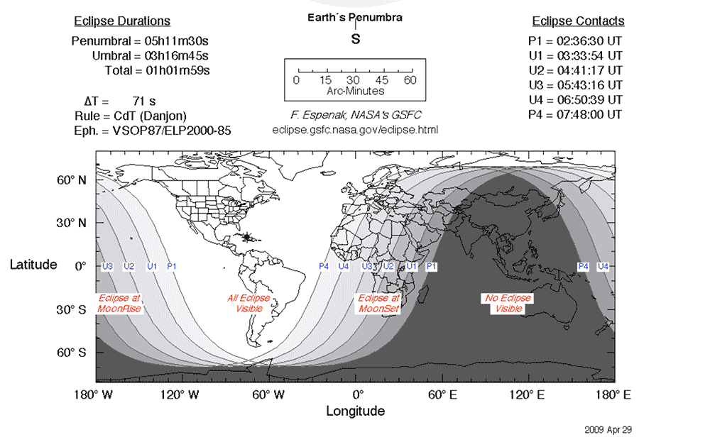 NASA eclipse tracker graphic