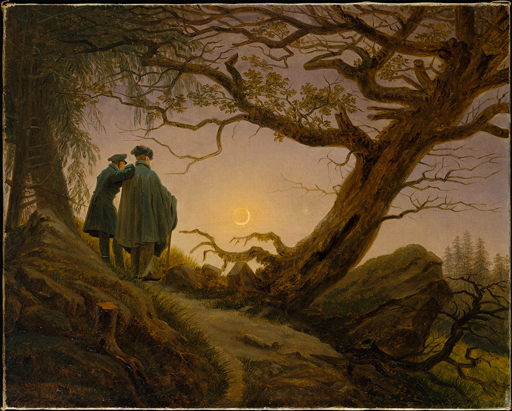 Two Men Contemplating the Moon